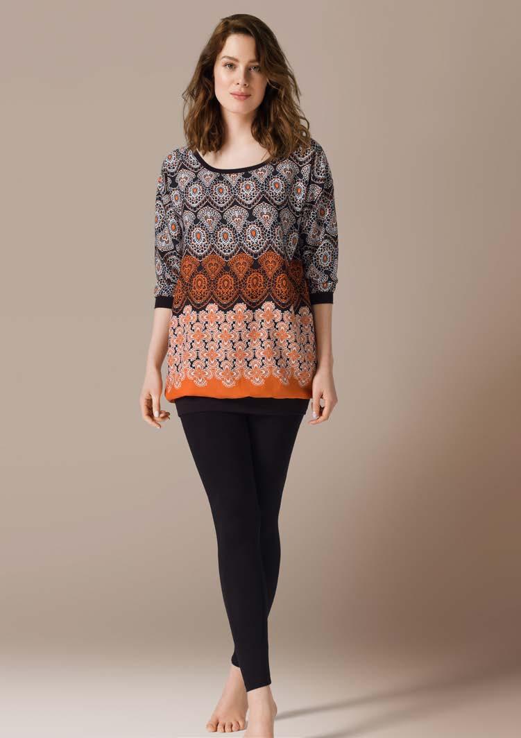Комплект женский CatherineS Цветы: туника, леггинсы, цвет: черный. 71448. Размер XL (50)71448