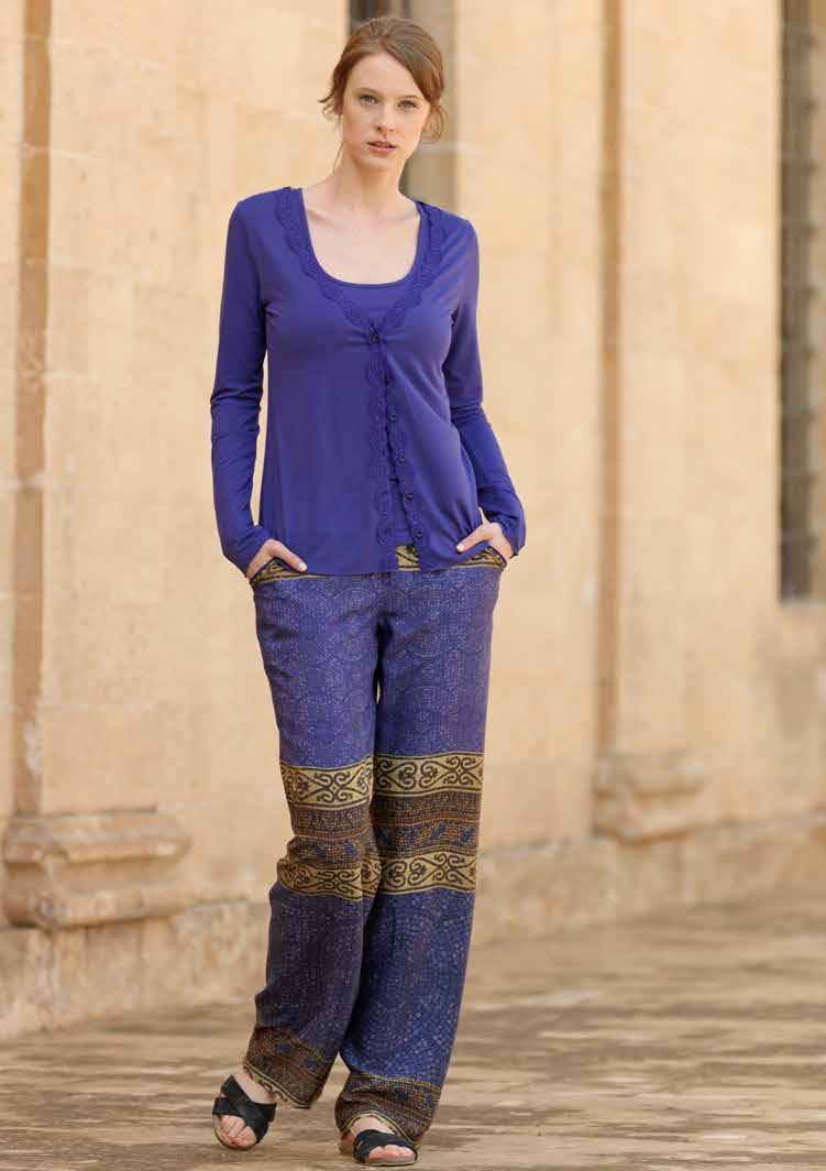Комплект женский Penye Mood Турецкий узор: майка, кардиган, брюки, цвет: синий. 717653. Размер L (48) комплект домашний женский penye mood сорочка халат цвет черный 7692 размер l 48
