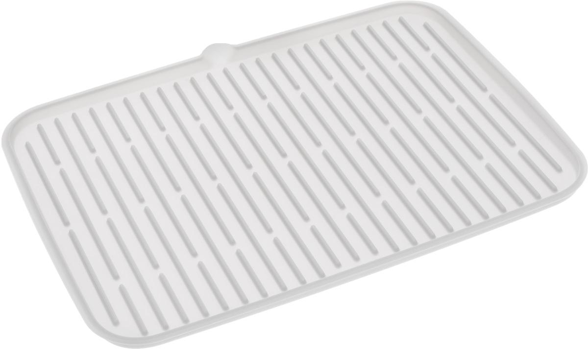 Сушилка для посуды Tescoma Clean Kit, силиконовая, цвет: белый, 42 х 30 см900647Сушилка для посуды Tescoma Clean Kit, выполненная из гибкого силикона, защитит кухонную столешницу от влаги и прекрасно подойдет для хранения помытой посуды. Она оснащена рельефным дном, а также носиком для удобного выливания вода. Ваша посуда высохнет быстрее, если после мойки вы поместите ее на легкую, современную сушилку. Сушилка для посуды Tescoma Clean Kit станет незаменимым атрибутом на вашей кухне.Можно мыть в посудомоечной машине.