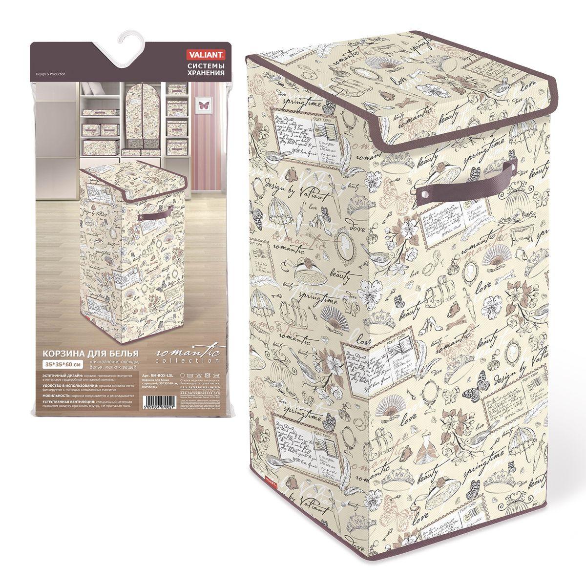 Корзина для белья Valiant Romantic, цвет: золотистый, коричневый, 35 х 35 х 60 смRM-BOX-LXLКорзина для белья Valiant Romantic изготовлена из нетканого материала и предназначена для сбора и хранения вещей перед стиркой. Компактная и легкая, она не занимает много места, аккуратно хранит белье. Изделие оснащено легкой крышкой. Корзина для белья Valiant Romantic со стильным дизайном гармонично смотрится в современном интерьере и станет незаменимым аксессуаром.Размеры: 35 х 35 х 60 см.