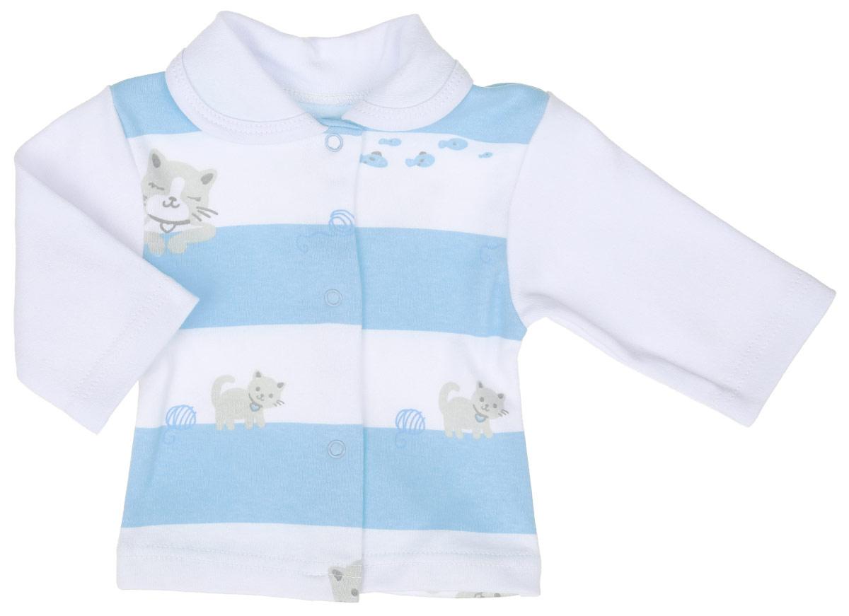 Кофточка Трон-плюс, цвет: белый, голубой, серый. 5165_ОЗ14_котята. Размер 80, 12 месяцев кофточка apart кофточка