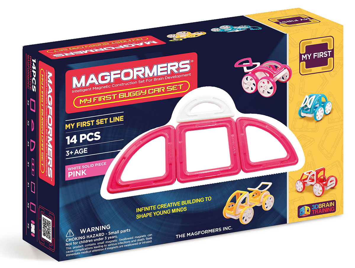 цена на Magformers Магнитный конструктор My First Buggy Car Set цвет розовый
