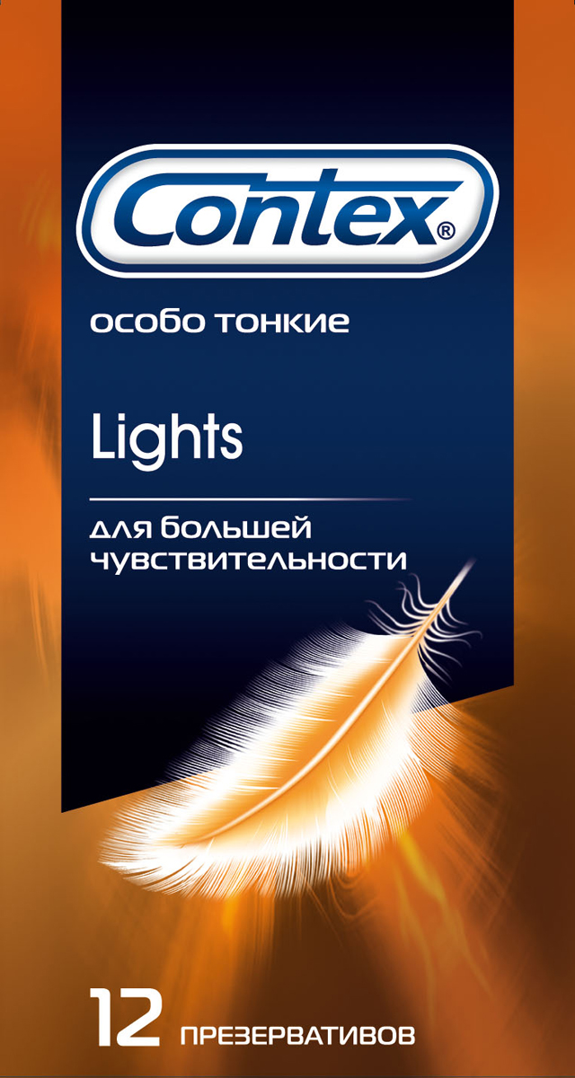 Contex Lights Презервативы особо тонкие для большей чувствительности, 12 шт мастурбатор men s max ougi