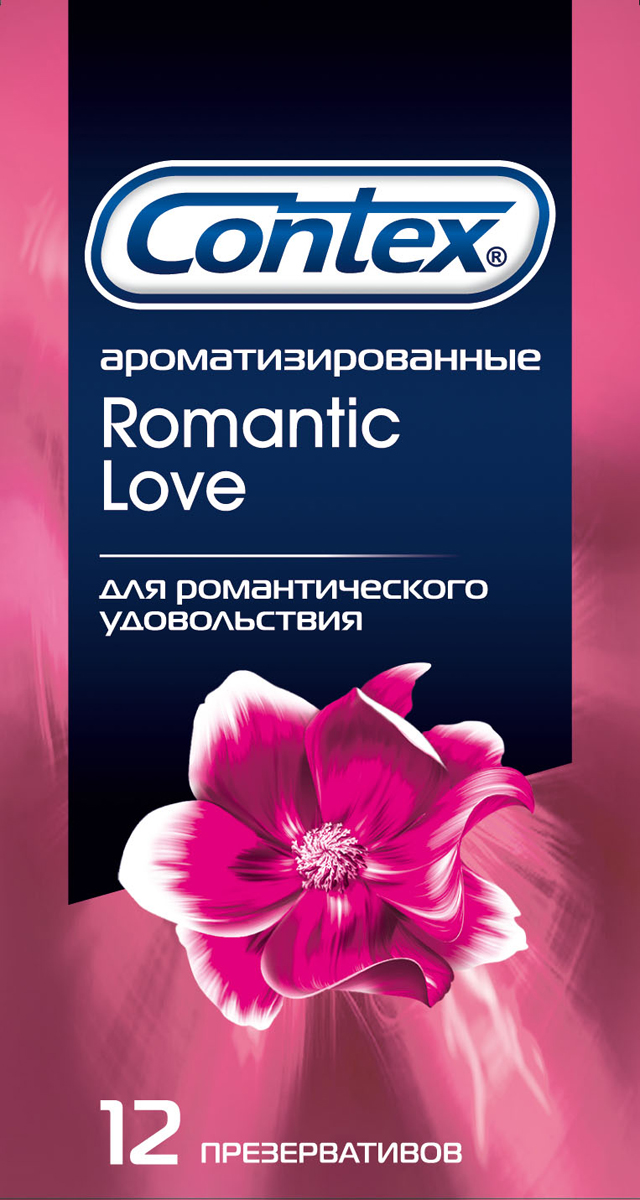 Contex Romantic Love Презервативы ароматизированные для романтического удовольствия, 12 шт contex long love интимный гель смазка с охлаждающим эффектом продлевающий удовольствие 100 мл