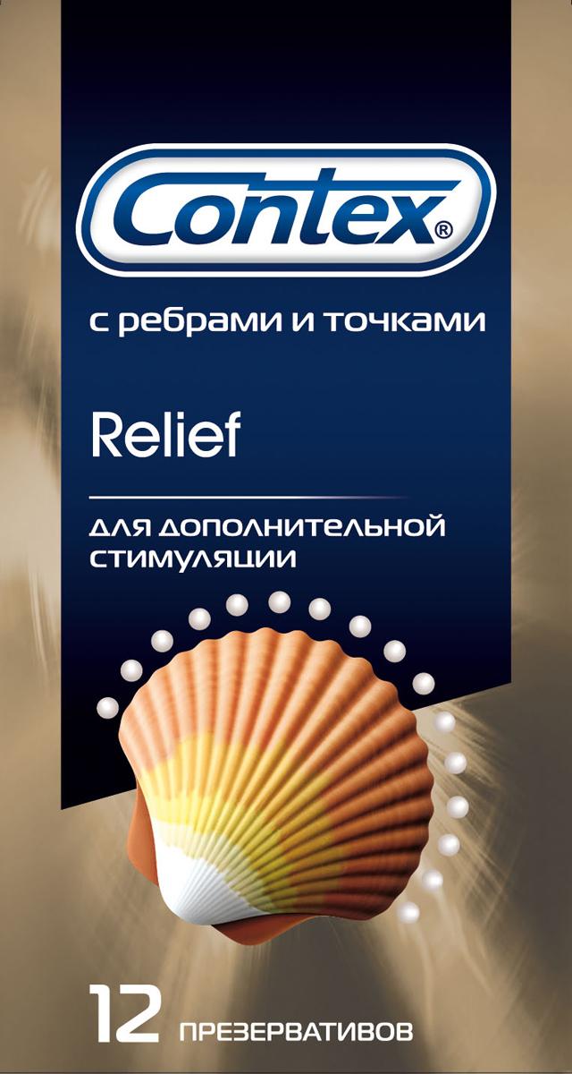 Contex Relief Презервативы с ребрами и точками для дополнительной стимуляции, 12 шт