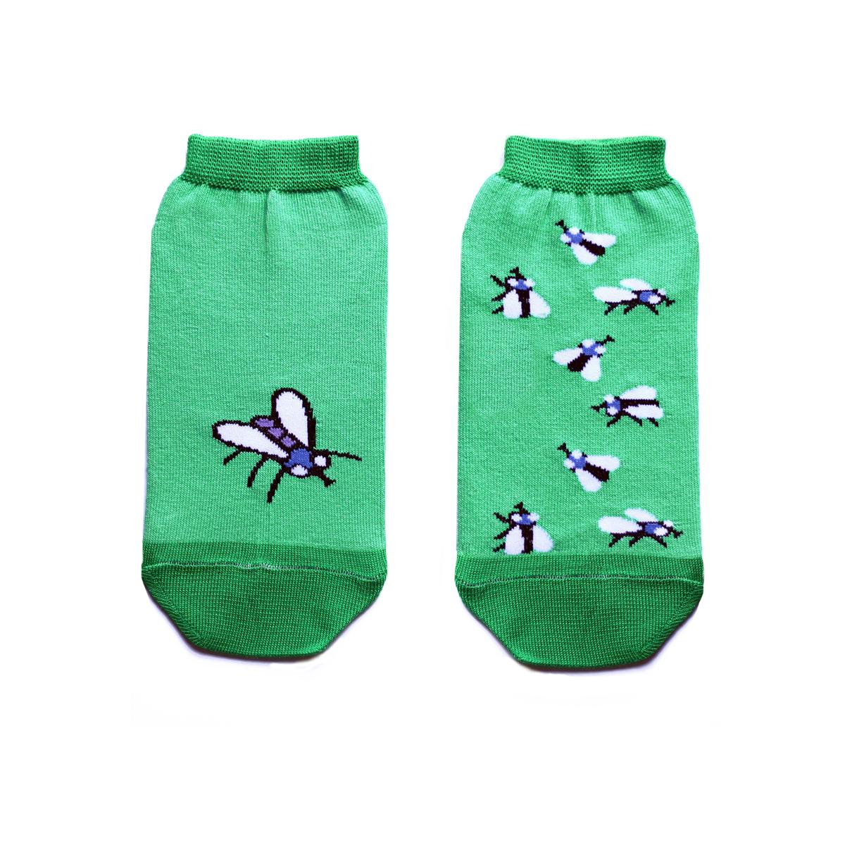 Носки женские Big Bang Socks, цвет: зеленый. ca1422. Размер 35/39ca1422Укороченные женские носки Big Bang Socks изготовлены из высококачественного хлопка с добавлением полиамидных и эластановых волокон, которые обеспечивают великолепную посадку. Носки отличаются ярким стильным дизайном, они оформлены изображением мух. Удобная резинка идеально облегает ногу и не пережимает сосуды, а усиленные пятка и мысок повышают износоустойчивость носка. Дизайнерские носки Big Bang Socks - яркая деталь в вашем образе и оригинальный подарок для друзей и близких.