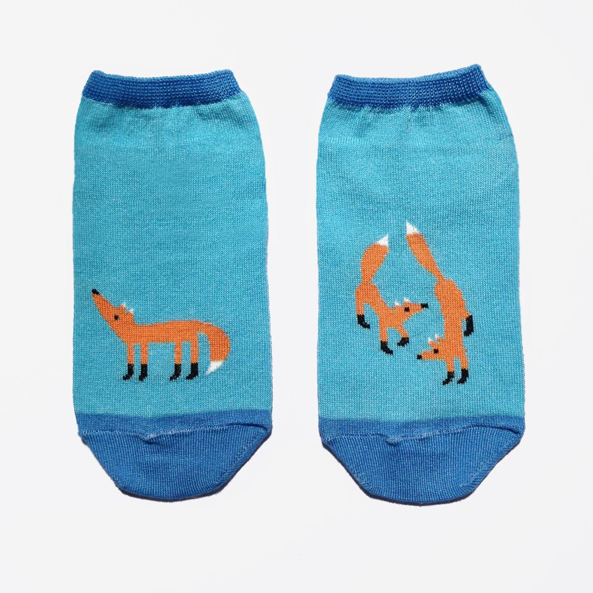 Носки женские Big Bang Socks Лиса, укороченные, цвет: голубой, оранжевый. a152. Размер 35/39 носки женские big bang socks кит цвет темно синий голубой a131 размер 35 39