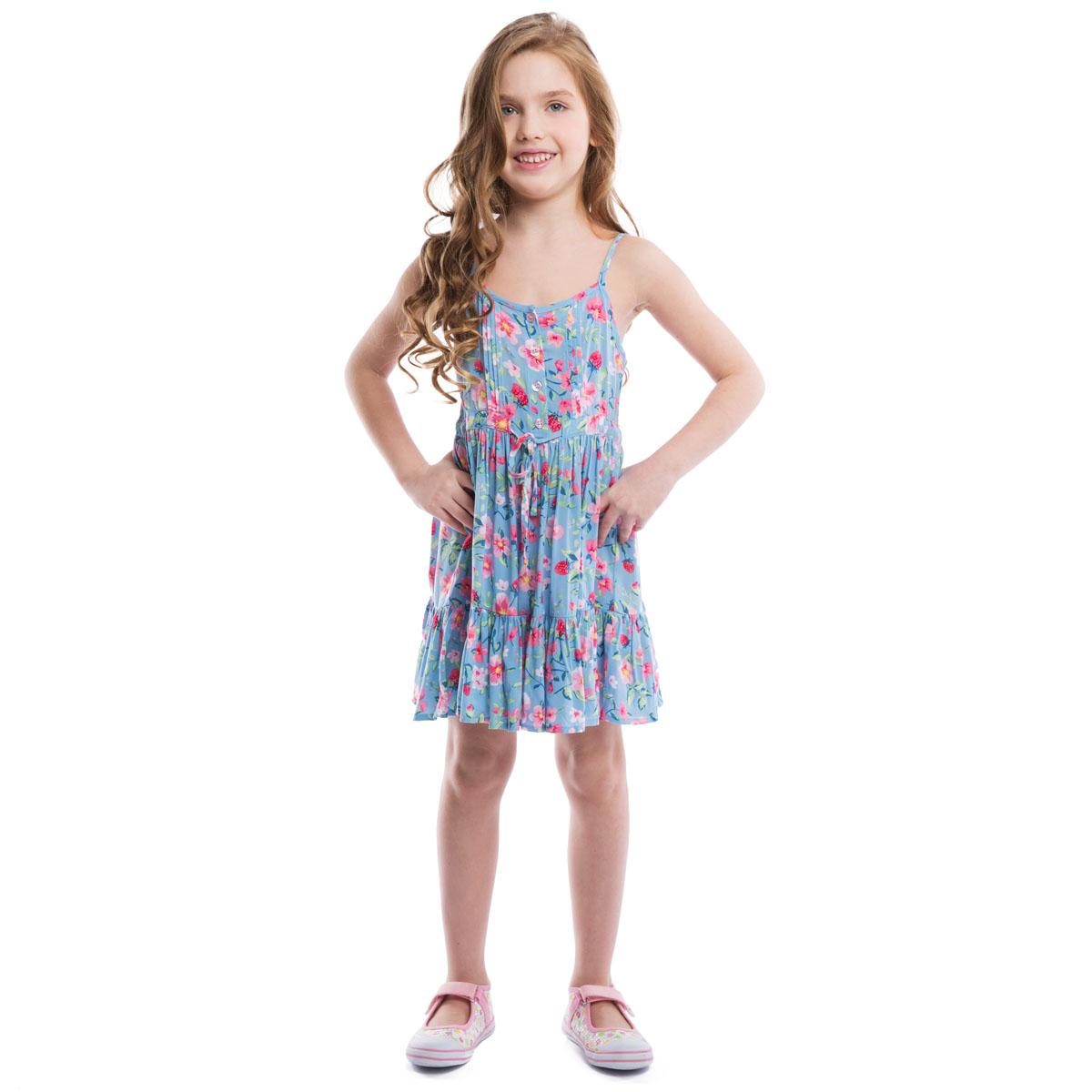Сарафан для девочки PlayToday, цвет: голубой, розовый. 262004. Размер 128, 8 лет262004Воздушный сарафан для девочки PlayToday идеально подойдет вашей маленькой моднице. Изготовленный из вискозы, он мягкий и приятный на ощупь, не сковывает движения и позволяет коже дышать, не раздражает даже самую нежную и чувствительную кожу ребенка, обеспечивая наибольший комфорт. Сарафан трапециевидного кроя на тонких регулируемых бретелях оформлен нежным цветочным принтом. Модель спереди застегивается на пуговицы до линии талии. На груди имеются изящные пришитые складки. На спинке модель присборена на тонкие эластичные резинки. Спереди сарафан дополнен скрытыми завязками. Пышная юбка с пришитой к подолу широкой оборкой придает изделию воздушность.Оригинальный дизайн и модная расцветка делают этот сарафан незаменимым предметом детского гардероба. В нем ваша маленькая леди всегда будет в центре внимания!