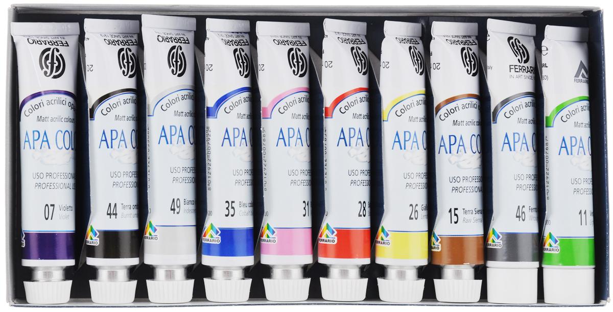"""Набор акриловых красок Ferrario """"Apa Color"""", 20 мл, 10 шт"""