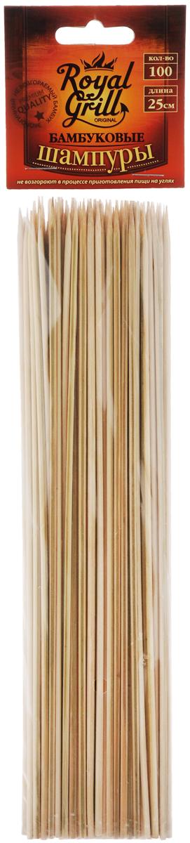 """Шампуры """"RoyalGrill"""", выполненные из бамбука, не возгораются в процессе приготовления пищи на углях. Они предназначены для приготовления шашлыков из небольших кусочков мяса, курицы, морепродуктов, овощей и грибов."""