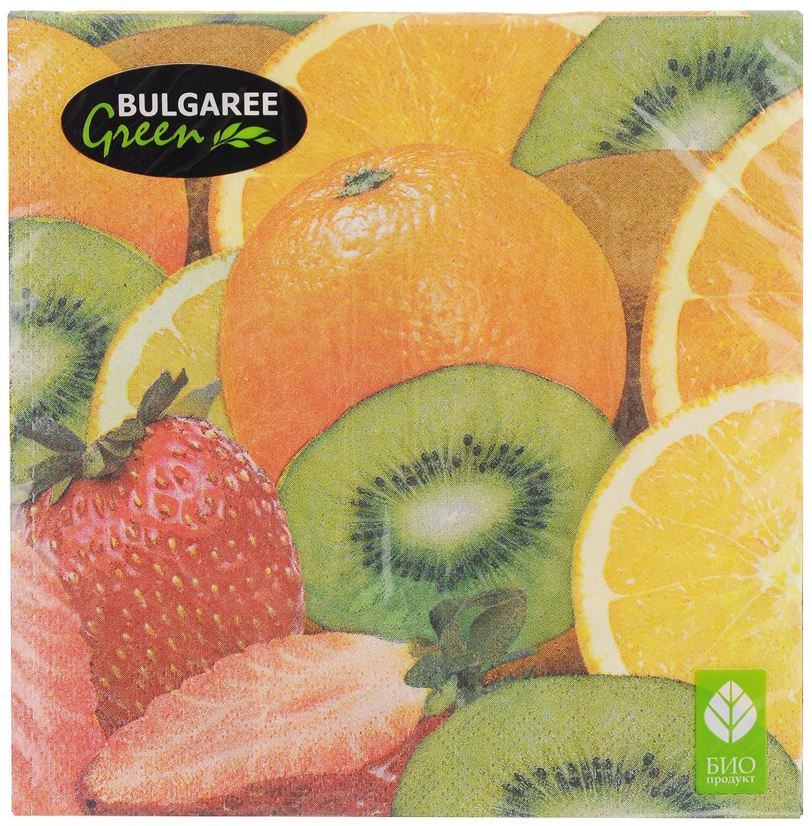 Салфетки бумажные Bulgaree Green Фрукты, трехслойные, 33 х 33 см, 20 шт