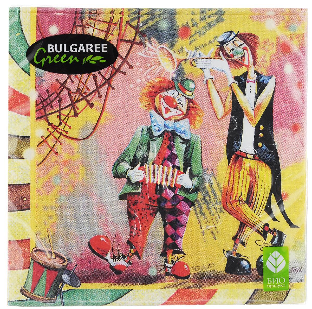Салфетки бумажные Bulgaree Green Клоун, трехслойные, 33 х 33 см, 20 шт1001835Декоративные трехслойные салфетки Bulgaree Green Клоун выполнены из 100%целлюлозы европейского качества и оформлены ярким рисунком. Изделия станут отличным дополнением любого праздничного стола. Они отличаются необычной мягкостью, прочностью и оригинальностью.Размер салфеток в развернутом виде: 33 х 33 см.