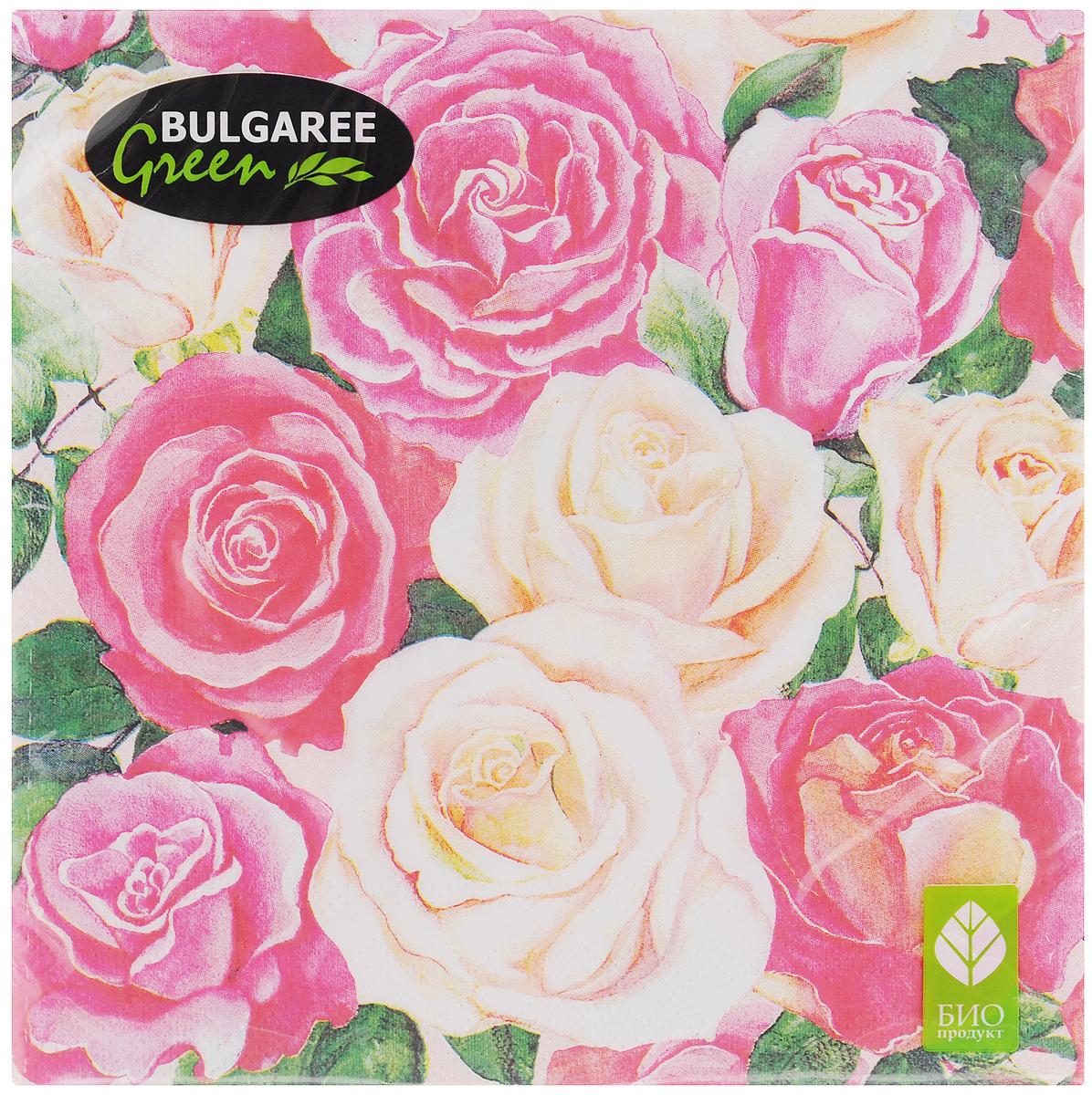 Салфетки бумажные Bulgaree Green Розовый букет, трехслойные, 33 х 33 см, 20 шт1002634Трехслойные салфетки Bulgaree Green Розовый букет выполнены из 100%целлюлозы и оформлены красивым рисунком. Изделия станут отличным дополнением любого праздничного стола. Они отличаются необычной мягкостью, прочностью и оригинальностью.Размер салфеток в развернутом виде: 33 х 33 см.