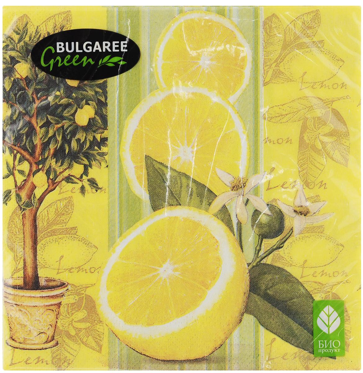 """Салфетки бумажные Bulgaree Green """"Лимон"""", трехслойные, 33 х 33 см, 20 шт"""