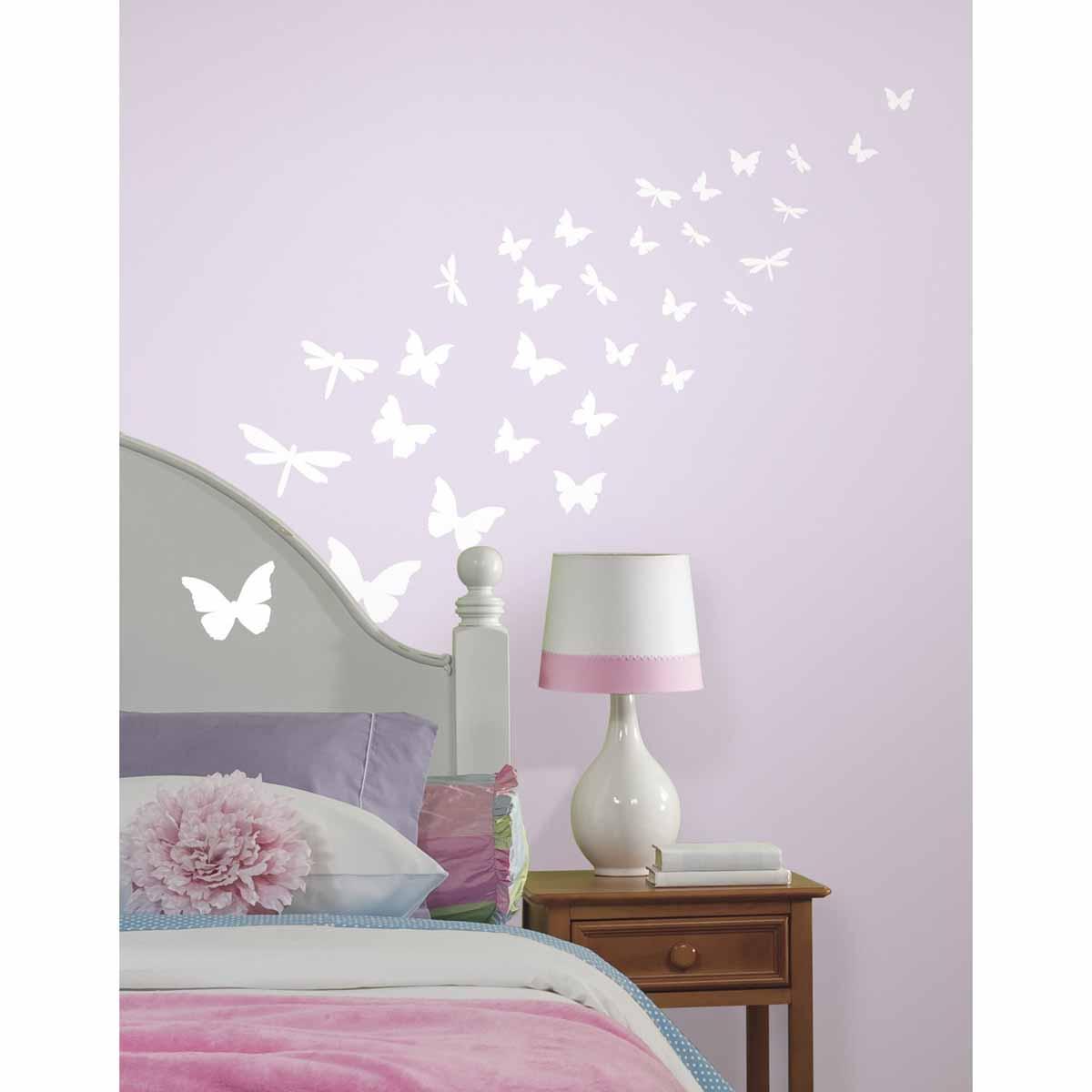 RoomMates Наклейка интерьерная Бабочки и стрекозы 80 шт -  Детская комната