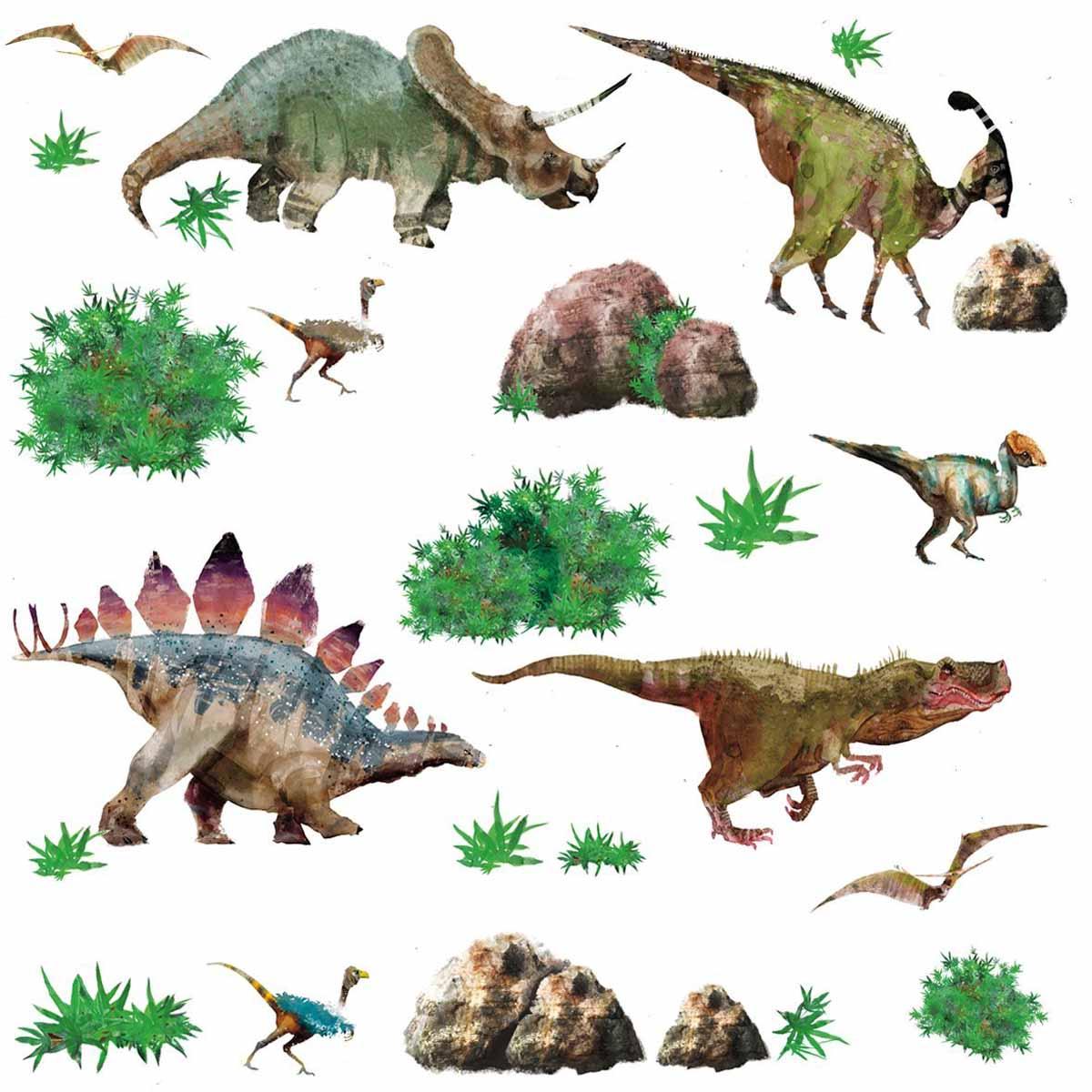 Наклейки для декора Динозавры от знаменитого производителя RoomMates станут украшением вашей квартиры! Новый увлекательный набор наклеек для декора приведет в восторг маленьких любителей палеонтологии! Наклейки, входящие в набор, содержат изображения различных динозавров, а также растений, окружающих их. Всего в наборе 25 стикеров. Наклейки не нужно вырезать - их следует просто отсоединить от защитного слоя и поместить на стену или любую другую плоскую гладкую поверхность. Наклейки многоразовые: их легко переклеивать и снимать со стены, они не оставляют липких следов на поверхности. В каждой индивидуальной упаковке вы можете найти 4 листа с различными наклейками! Таким образом, покупая наклейки фирмы RoomMates, вы получаете гораздо больший ассортимент наклеек, имея возможность украсить ими различные поверхности в доме.