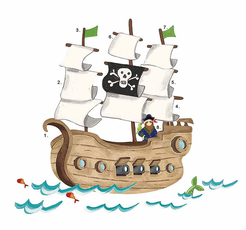 RoomMates Наклейка интерьерная Пиратский корабль 18 штRMK2042SLMИнтерьерная наклейка RoomMates Пиратский корабль обязательно станет украшением вашей квартиры.Придайте яркий и оригинальный вид комнате вашего ребенка с новым набором наклеек большого формата для декора! Наклейки, входящие в набор, содержат изображение плывущего по волнам пиратского корабля, с капитаном корабля, стоящим на борту, и его попугаем. Всего в наборе 18 стикеров. Наклейки не нужно вырезать - их следует просто отсоединить от защитного слоя и поместить на стену или любую другую плоскую гладкую поверхность. Наклейки многоразовые: их легко переклеивать и снимать со стены, они не оставляют липких следов на поверхности.