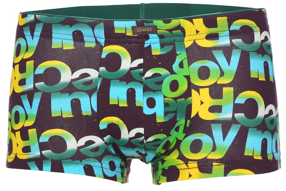 Трусы-боксеры мужские Lowry, цвет: баклажановый, зеленый, желтый. MSHL-391. Размер M (46)