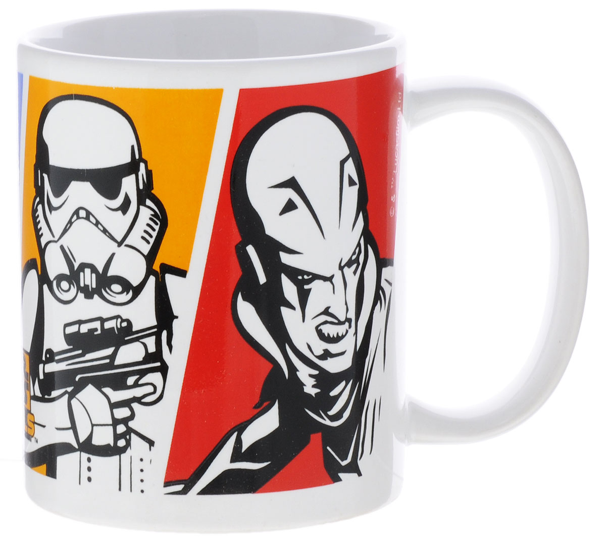 """Детская кружка Stor """"Звездные войны: Повстанцы"""" из серии Stor Star Wars с любимыми героями станет отличным подарком для вашего ребенка. Она выполнена из керамики и оформлена изображением персонажей мультсериала """"Star Wars Rebels"""". Кружка дополнена удобной ручкой. Такой подарок станет не только приятным, но и практичным сувениром: кружка будет незаменимым атрибутом чаепития, а оригинальное оформление кружки добавит ярких эмоций и хорошего настроения.Можно использовать в СВЧ-печи и посудомоечной машине."""