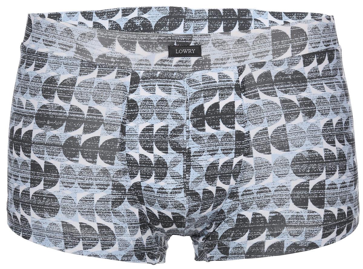 Трусы-боксеры мужские Lowry, цвет: голубой, серый, белый. MSHL-312. Размер XL (50) трусы lowry трусы