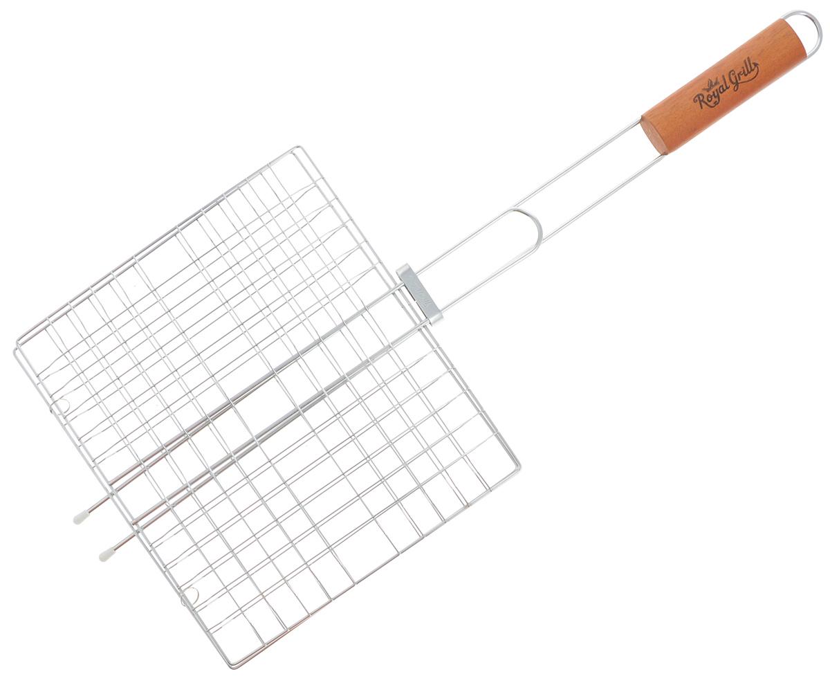 Решетка-гриль RoyalGrill, 27 х 24 см80-020Универсальная решетка-гриль RoyalGrill изготовлена из высококачественной стали. На решетке удобно размещать стейки, ребрышки, гамбургеры, сосиски, рыбу, овощи.Решетка предназначена для приготовления пищи на углях. Блюда получаются сочными, ароматными, с аппетитной специфической корочкой. Рукоятка изделия оснащена деревянной вставкой и фиксирующей скобой, которая зажимает створки решетки. Размер рабочей поверхности решетки (без учета усиков): 27 х 24 см.Общая длина решетки (с ручкой): 62,5 см.