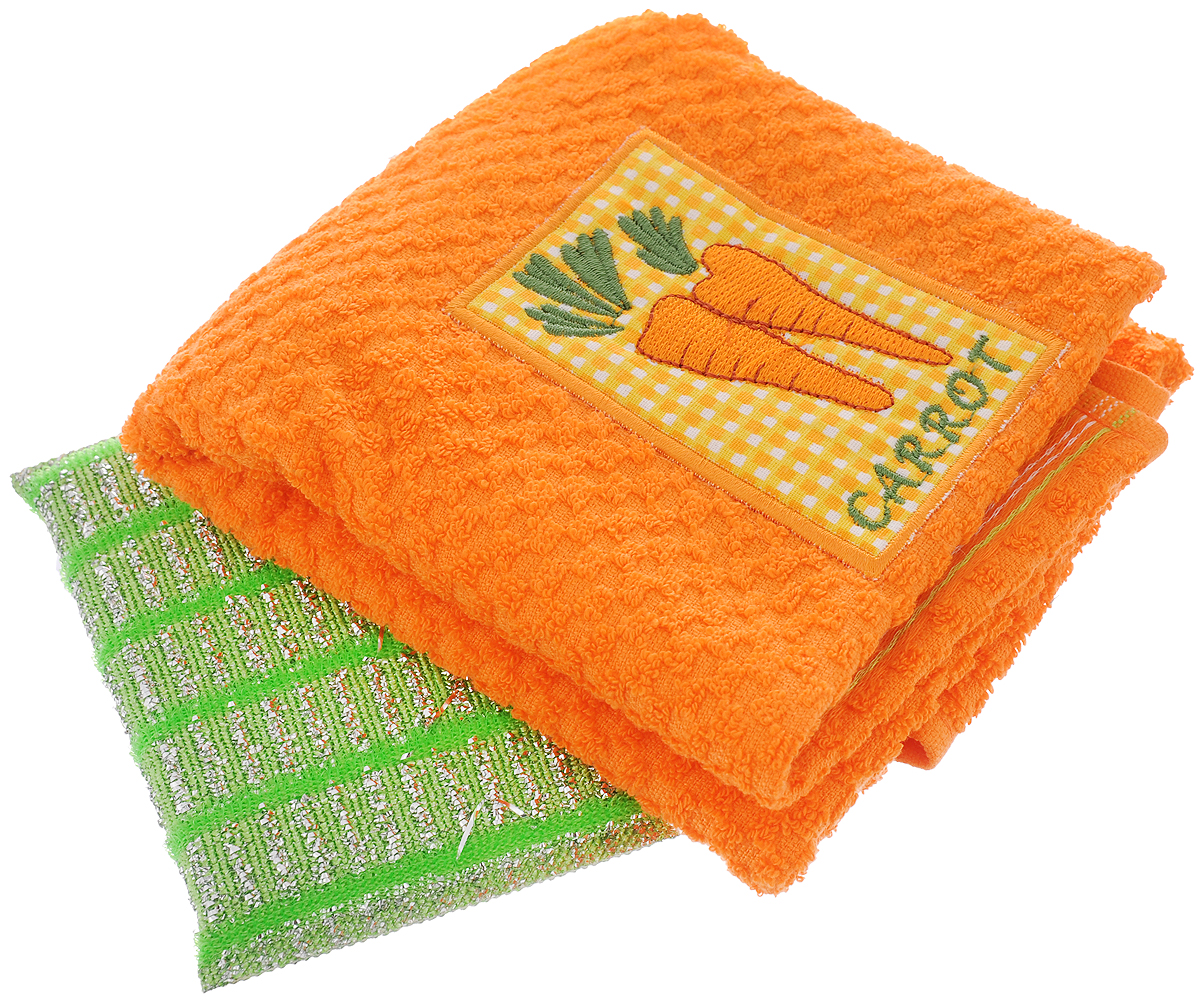 Набор подарочный для кухни Bonita Фруктовый сюрприз. Морковь, 2 предмета101311587_оранжевыйПодарочный набор для кухни Bonita Фруктовый сюрприз. Морковь состоит измахрового полотенца и губки с абразивным покрытием. Полотенце выполнено из100% хлопка и декорировано вышивкой.Такой набор оригинально украсит интерьер и будет уместен на любой кухне.Прекрасно подойдет в качестве подарка, который окажется не только приятным,но и полезным в хозяйстве.Материал полотенца: 100% хлопок. Материал губки: 80% полиэстер, 20% полиамид. Размер полотенца: 40 х 60 см. Размер губки: 13 х 9 х 1 см.