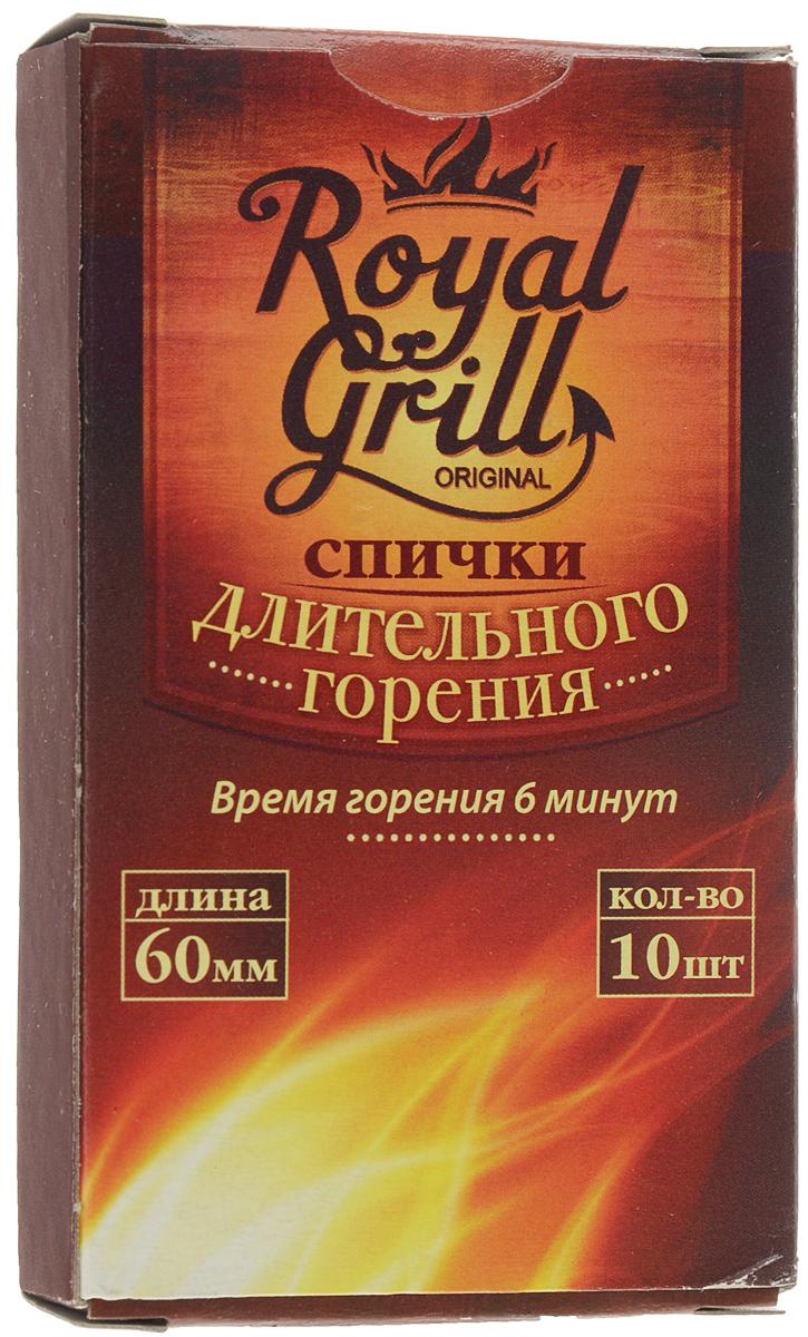 Спички RoyalGrill длительного горения, 10 шт80-137Спички RoyalGrill длительного горения предназначены для разведения огня. Они всегда выручат в плохую погоду на открытом воздухе. Отлично загораются, плохо тушатся - что защищает от сильного ветра, неожиданного дождя и любой непогоды. Их удобно держать в руке с минимальным риском ожогов.Состав: ДВП, смесь парафинов, зажигательный состав.