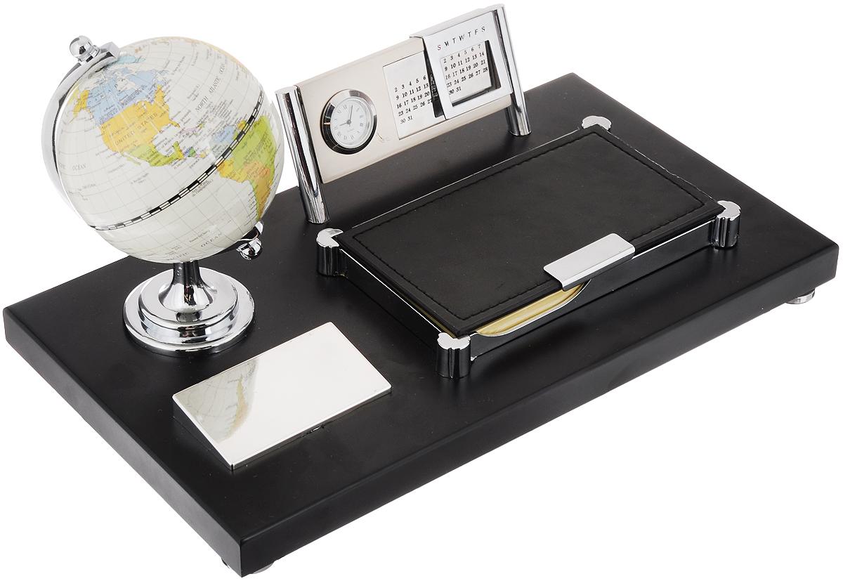 Набор настольный Win Max Глобус047037Основой канцелярского подарочного набора Win Max Глобус является подставка, выполненная из МДФ с лакированной поверхностью. Подошва ножек подставки отделана бархатом, предохраняющим стол и другие поверхности от царапин. На подставке располагаются глобус, часы, передвижной календарь, отделение для бумаги и скрепок. В комплект входит блок бумаги для заметок.Настольный подарочный набор Win Max Глобус - изысканная вещь для стильного интерьера, которая станет прекрасным подарком для современного преуспевающего человека, следующего последним тенденциям моды и стремящегося к элегантности и комфорту в каждой детали.Размер подставки: 30 х 17 х 3 см.Высота глобуса: 12,5 см.