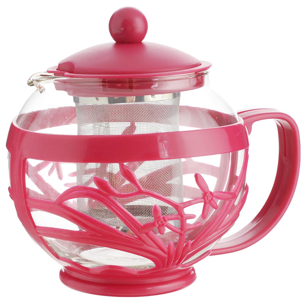 Чайник заварочный Menu Мелисса, с фильтром, цвет: прозрачный, малиновый, 750 млMLS-75_малиновыйЧайник Menu Мелисса изготовлен из прочного стекла и пластика. Он прекрасно подойдет для заваривания чая и травяных напитков. Классический стиль и оптимальный объем делают его удобным и оригинальным аксессуаром. Изделие имеет удлиненный металлический фильтр, который обеспечивает высокое качество фильтрации напитка и позволяет заварить чай даже при небольшом уровне воды. Ручка чайника не нагревается и обеспечивает безопасность использования. Нельзя мыть в посудомоечной машине. Диаметр чайника (по верхнему краю): 8 см.Высота чайника (без учета крышки): 11 см.Размер фильтра: 6 х 6 х 7,2 см.