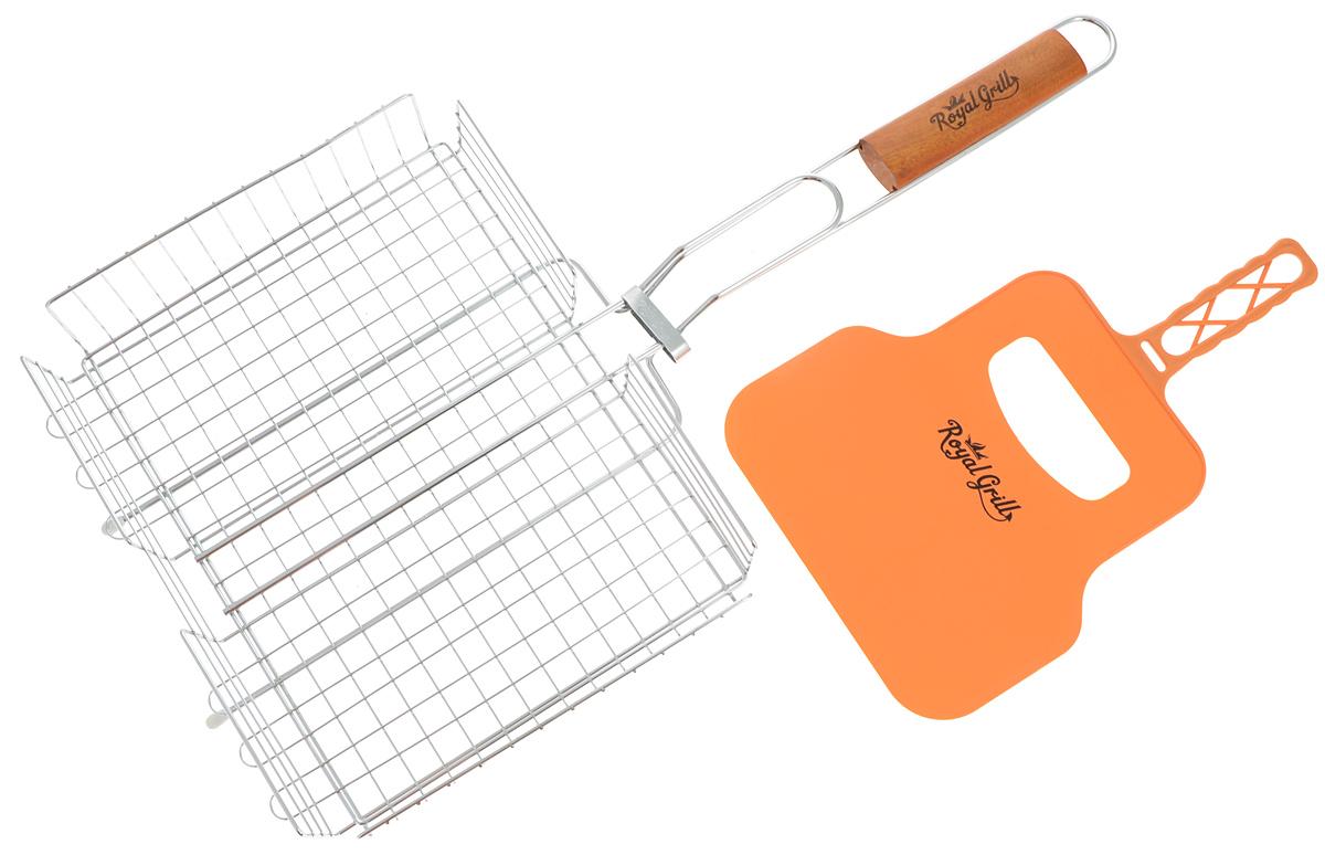 Решетка-гриль RoyalGrill, глубокая, с веером, 31 х 24 см80-031Глубокая решетка-гриль RoyalGrill изготовлена из высококачественной стали. На решетке удобно размещать стейки, ребрышки, гамбургеры, сосиски, рыбу, овощи.Решетка предназначена для приготовления пищи на углях. Блюда получаются сочными, ароматными, с аппетитной специфической корочкой. Рукоятка изделия оснащена деревянной вставкой и фиксирующей скобой, которая зажимает створки решетки. В комплекте имеется веер, выполненный из пластика, который предназначен для разжигания мангала.Размер рабочей поверхности решетки (без учета усиков): 31 х 24 см.Общая длина решетки (с ручкой): 58 см.