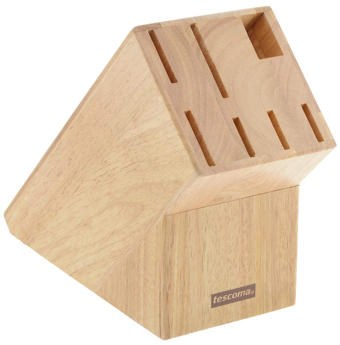 """Блок Tescoma """"Woody"""", изготовленный из специальной благородной древесины - каучука бразильского, обеспечивает безопасное хранение ножей. Блок имеет 6 отверстий для ножей и 1 отверстие для  ножниц или точилки. Изделие оснащено противоскользящими резиновыми накладками. Нельзя мыть в посудомоечной машине."""