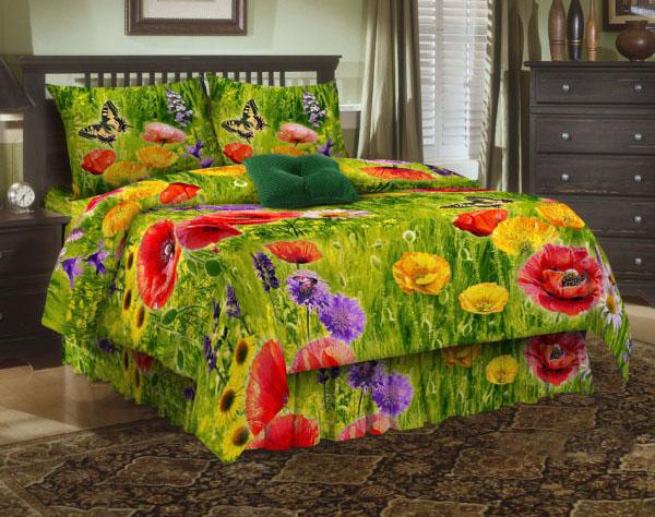 Комплект белья ЭГО Маки, 1,5-спальный, наволочки 70х70, цвет: зеленый, красный, желтый. Э-2002-01