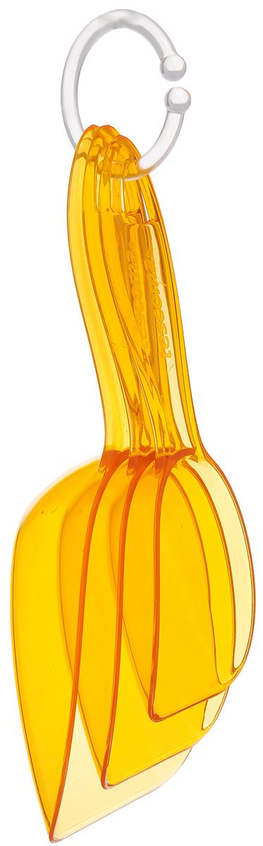 Ложка для сыпучих продуктов Tescoma Presto, цвет: оранжевый, 3 шт420740_оранжевыйЛожки Tescoma Presto разного размера предназначены длянасыпания сыпучих продуктов. Выполнены извысококачественногоударопрочного пластика, оснащены отверстиями дляподвешивания. В комплект входит кольцо для совместногохранения. Можно мыть в посудомоечной машине. Размер большой ложки: 21 х 7 х 4,5 см. Размер средней ложки: 19 х 6 х 3,5 см. Размер маленькой ложки: 16 х 4,5 х 2,5 см.