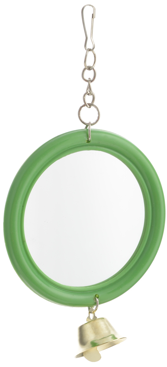 Игрушка для птиц Triol Зеркало с колокольчиком, цвет: зеленый, золотистый клетка triol n 1601цинк для птиц 34 5 26 44см