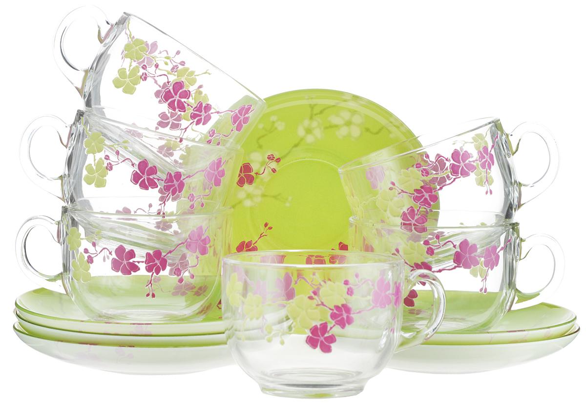Набор чайный Luminarc Kashima Green, 12 предметовH0062Чайный набор Luminarc Kashima Green состоит из шести чашек и шести блюдец. Предметы набора изготовлены из высококачественного стекла и имеют стильный внешний вид. Чайный набор изысканного утонченного дизайна украсит интерьер кухни. Прекрасно подойдет как для торжественных случаев, так и для ежедневного использования.Объем чашки: 220 мл. Диаметр чашки (по верхнему краю): 8,3 см. Высота стенки чашки: 6,5 см.Диаметр блюдца: 14 см.Высота блюдца: 2 см.