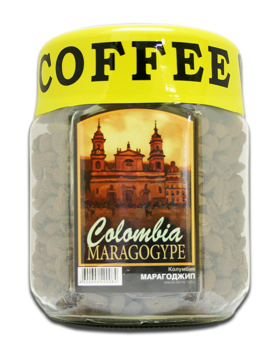 Блюз Марагоджип Колумбия кофе в зернах, 150 г (банка)4600696490114Кофе Блюз Марагоджип Колумбия выращивается в самых экологически чистых регионах Латинской Америки. Напиток имеет тонкий, ярко выраженный аромат, а также мягкий, слегка винный вкус. Настой насыщенный, со средней кислотностью.Кофе: мифы и факты. Статья OZON Гид