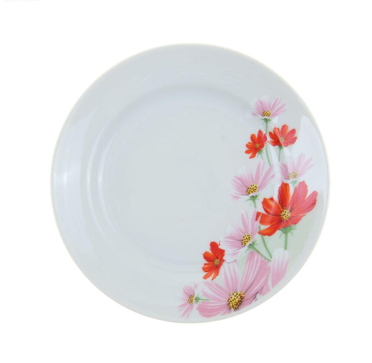 Тарелка мелкая Идиллия. Космея, диаметр 17 см тарелка идиллия космея диаметр 24 см