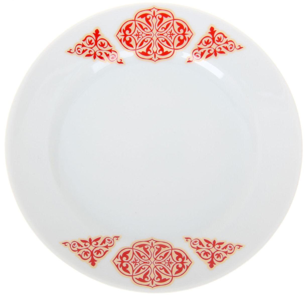 Тарелка мелкая Идиллия. Восточный, диаметр 20 см1224528Тарелка Идиллия. Восточный изготовлена из высококачественного фарфора. Изделие декорировано красочным изображением. Такая тарелка отлично подойдет в качестве блюда, она идеальна для сервировки закусок, нарезок, горячих блюд. Тарелка прекрасно дополнит сервировку стола и порадует вас оригинальным дизайном.