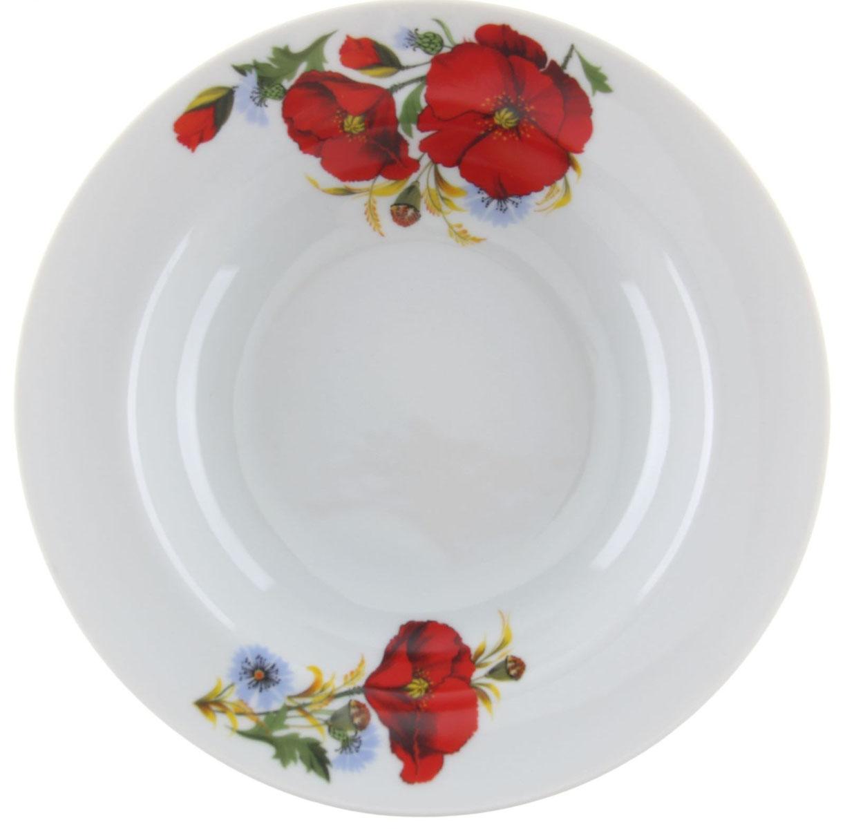 Тарелка глубокая Идиллия. Маки красные, диаметр 20 см1303845Глубокая тарелка Идиллия. Маки красные выполнена из высококачественного фарфора и украшена ярким цветочным рисунком. Она прекрасно впишется в интерьер вашей кухни и станет достойным дополнением к кухонному инвентарю. Тарелка Идиллия. Маки красные подчеркнет прекрасный вкус хозяйки и станет отличным подарком. Диаметр тарелки: 20 см.
