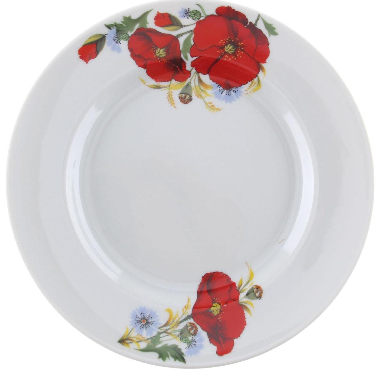 """Мелкая тарелка """"Идиллия. Маки красные"""" выполнена из высококачественного фарфора и украшена ярким цветочным рисунком. Она прекрасно впишется в интерьер вашей кухни и станет достойным дополнением к кухонному инвентарю.  Тарелка """"Идиллия. Маки красные"""" подчеркнет прекрасный вкус хозяйки и станет отличным подарком.   Диаметр тарелки: 20 см."""