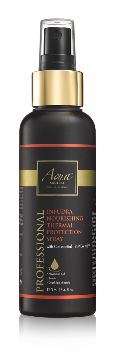 Aqua mineral Спрей термозащитный, восстанавливающий и питательный для волос 120 мл0987Обогащенный запатентованной формулой CUTISSENTIAL 18-MEA 40, термозащитный спрей противостоит воздействию излишне высокихтемператур, а также обеспечивает легкую фиксацию и глянцевое покрытие. Обогащенная витаминами, пептидами,минералами Мертвого моря,маслом крамбе (абиссинская горчица) и семян моркови,формула питает волосы, осуществляет антиоксидантную защиту от высоких температур,эффективно предотвращает ломкость и сечение кончиков. Результат - здоровые сияющие волосы, защищенные от высоких температур, иукладка, которая держится в течение всего дня.