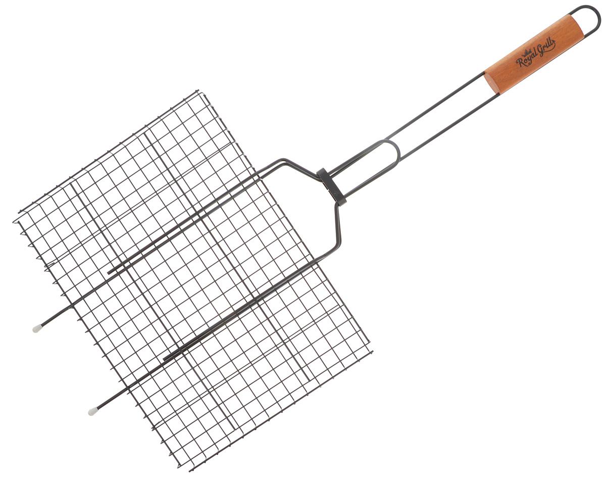 """Решетка-гриль """"RoyalGrill"""" изготовлена из  высококачественной стали с антипригарным  покрытием. На решетке удобно размещать стейки,  ребрышки, гамбургеры, сосиски,  рыбу, овощи.Решетка предназначена для  приготовления пищи на углях. Блюда  получаются сочными, ароматными, с аппетитной  специфической корочкой.  Рукоятка изделия оснащена деревянной вставкой и  фиксирующей скобой, которая  зажимает створки решетки.  Размер рабочей поверхности решетки (без учета  усиков): 35 х 26 см.                                                                                                                                               Общая длина решетки (с ручкой): 75 см."""