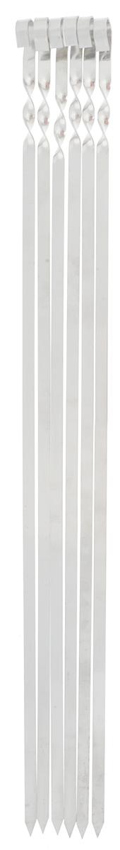 Набор плоских шампуров RoyalGrill, длина 62 см, 6 шт80-079Набор RoyalGrill состоит из 6 плоских шампуров, предназначенных для приготовления шашлыка. Изделия выполнены из высококачественной нержавеющей стали. Функциональный и качественный набор шампуров поможет вам в приготовлении вкусного шашлыка на открытом воздухе. Ширина: 1 см. Толщина: 1,5 мм.