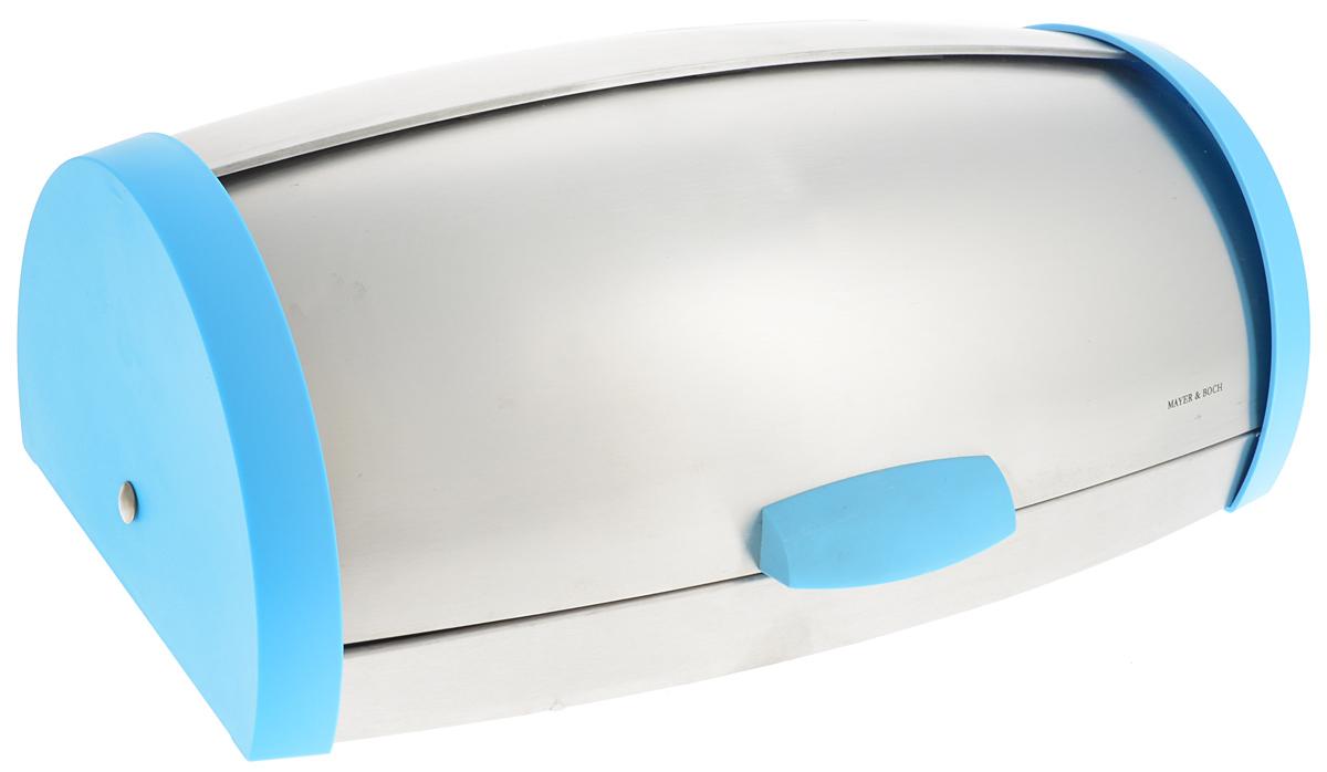 Хлебница Mayer & Boch, цвет: белый, голубой, 27 х 17 х 43 см23156_голубойХлебница Mayer & Boch изготовлена из высококачественной нержавеющей стали и пластика. Крышка плотно и легко закрывается.Стильная хлебница прекрасно впишется в интерьер кухни и надолго сохранит ваш хлеб вкусным и свежим.Размер хлебницы: 27 х 17 х 43 см.