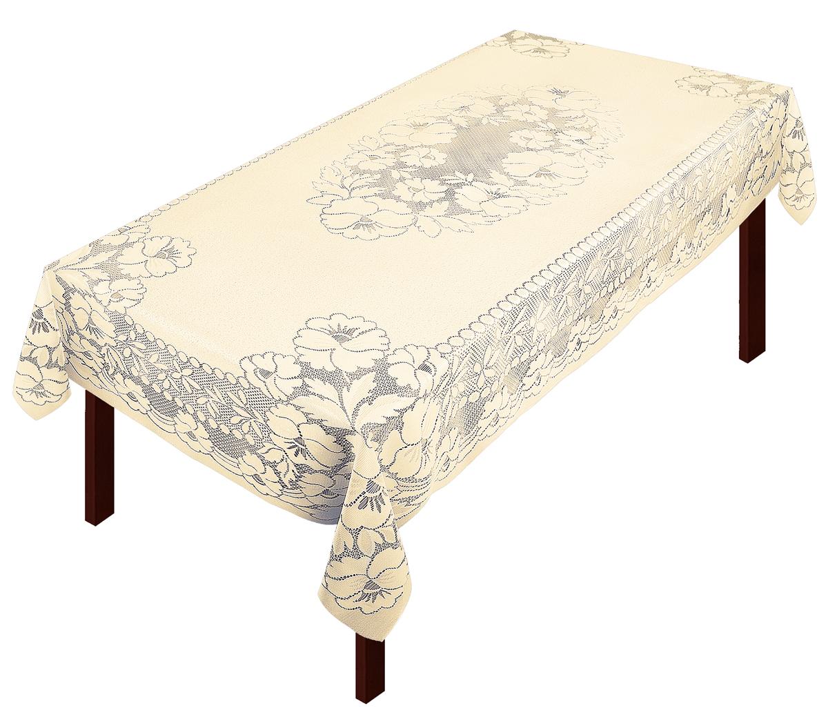 Скатерть выполнена из полиэстера жаккардового переплетения, не скользит со стола, легко стирается и прослужит Вам долгое время.