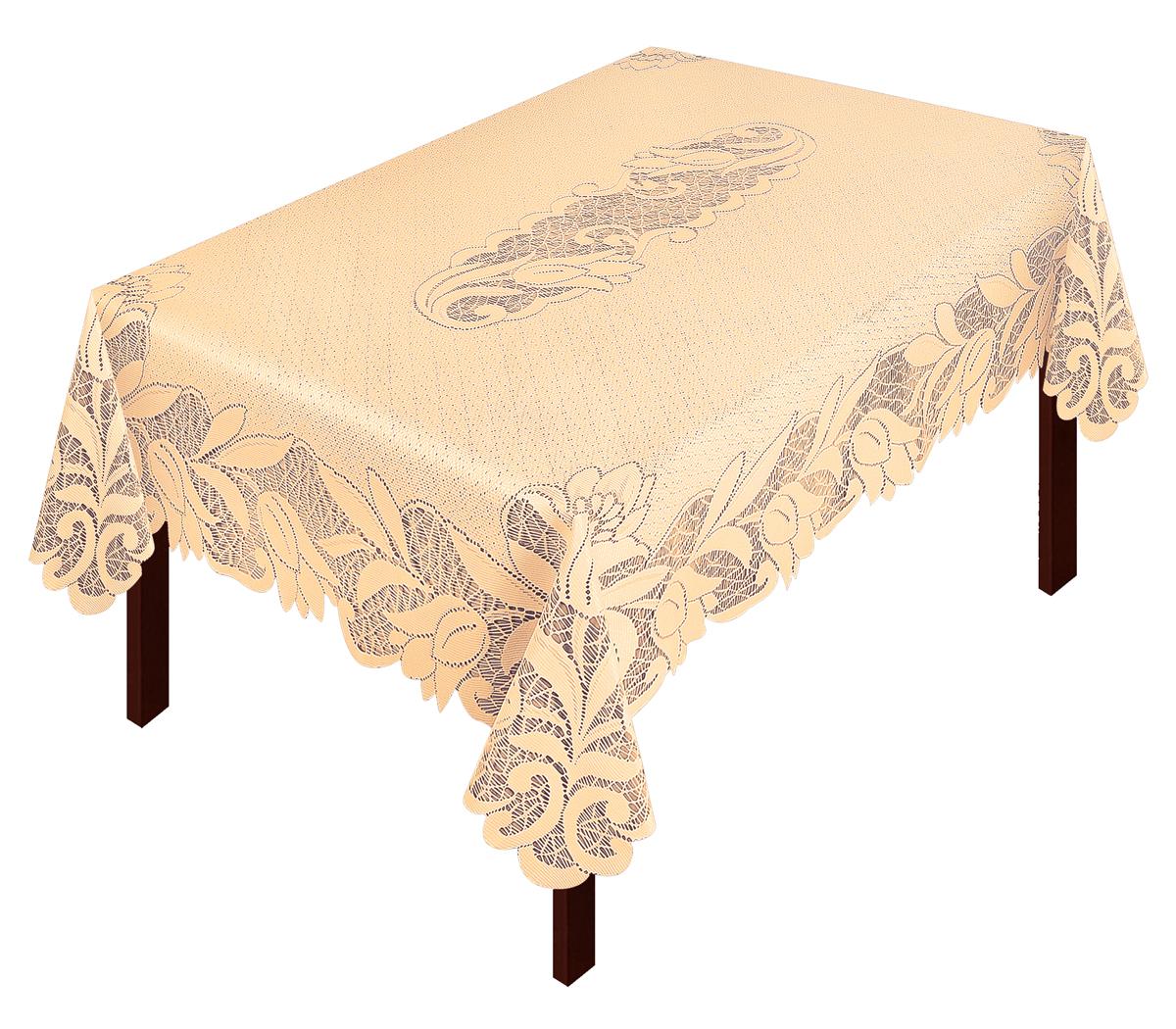 Скатерть Zlata Korunka, прямоугольная, цвет: золотистый, 165 х 120 см80038Скатерть выполнена из полиэстера жаккардового переплетения, не скользит со стола, легко стирается и прослужит Вам долгое время.