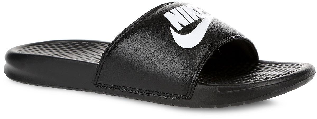 Шлепанцы мужские Nike Benassi Just Do It, цвет: черный. 343880-090. Размер 13 (47,5)343880-090Мужские шлепанцы Benassi Just Do It от Nike подарят вам максимальный комфорт. Верх модели, выполненный из синтетической кожи, оформлен логотипом и названием бренда. Текстурированная стелька обеспечивает массажный эффект и способствует расслаблению ног. Цельная инжектированная подошва - для мягкости и невесомой амортизации. Рифление на подошве гарантирует идеальное сцепление с любой поверхностью. Модные шлепанцы покорят вас своим дизайном и удобством!