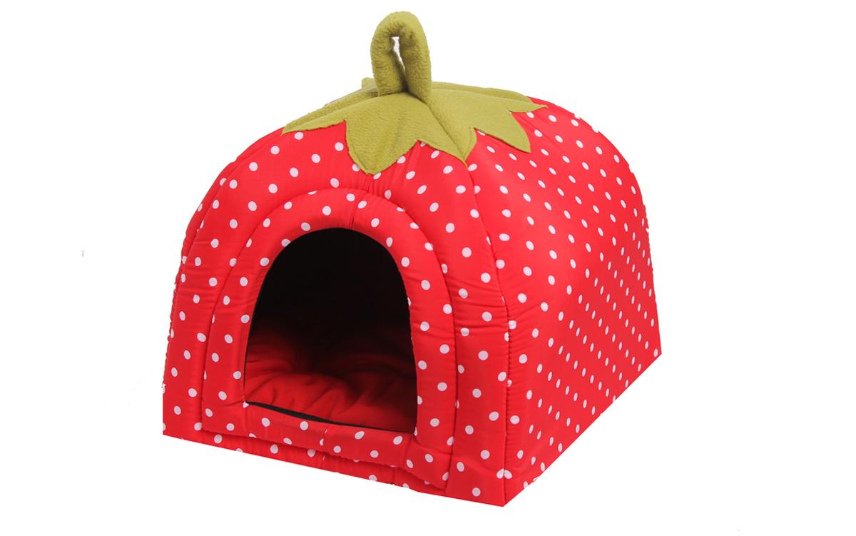 Домик для собак Lion Manufactory Ягодка, цвет: красный, размер M, 45 х 45 х 40 см лежанки для собак плетеные