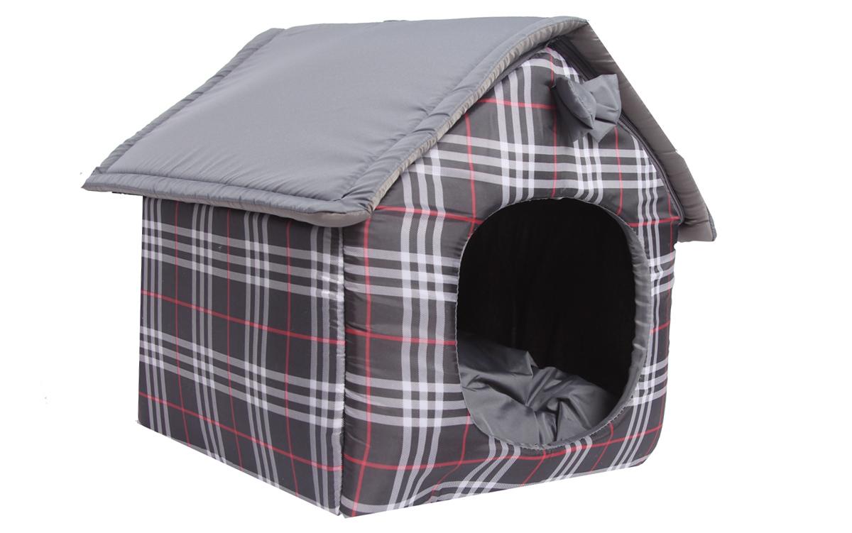 """Домик для животных Lion Manufactory """"Будка"""", цвет: черный, серый, красный, 40 х 36 х 40 см"""