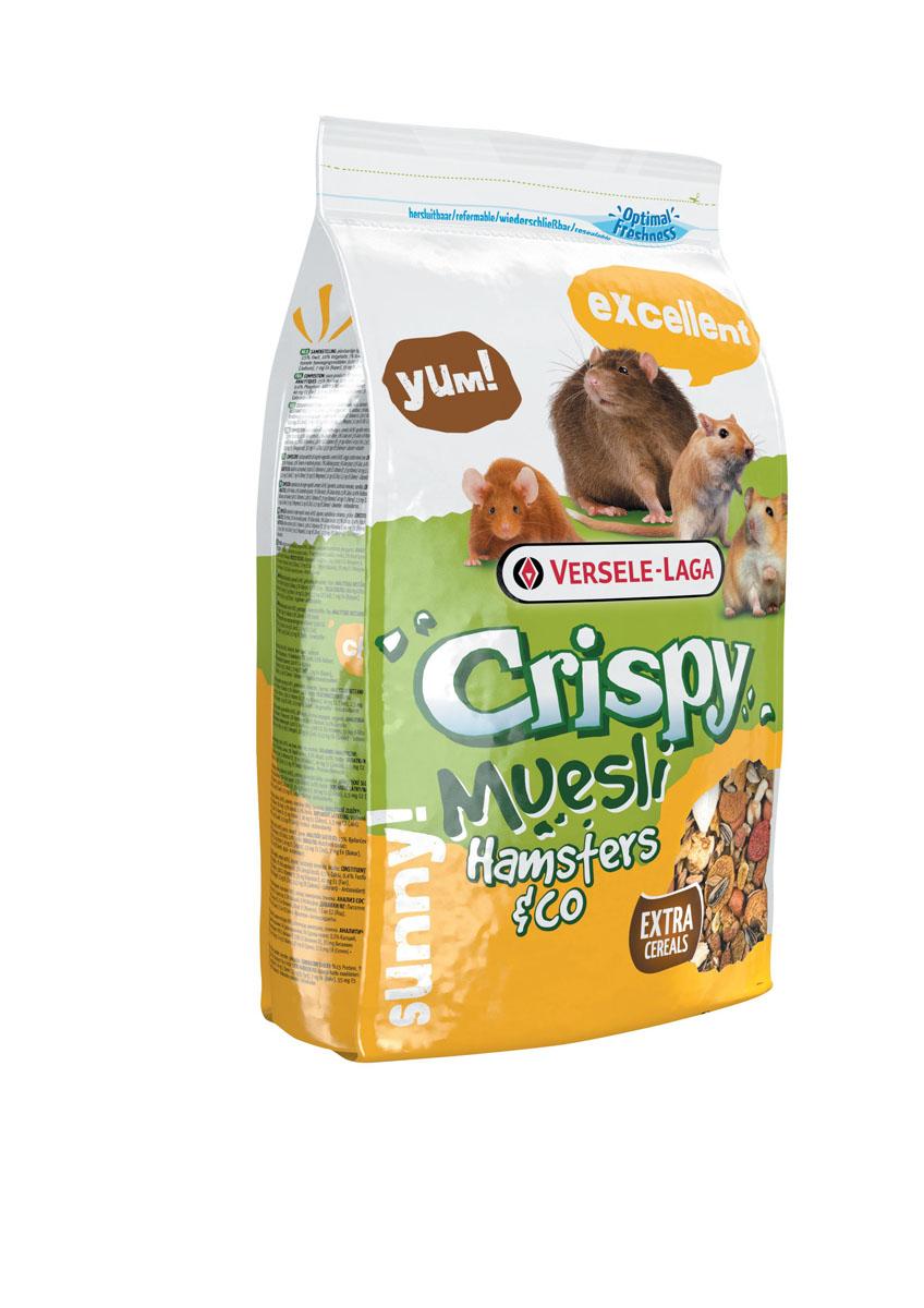 Корм для хомяков и других грызунов Versele-Laga Crispy Muesli Hamsters & Co, 400 г461720VERSELE-LAGA Crispy Muesli Hamsters & Co корм для хомяков с витамином E 400 г.Crispy Muesli Hamsters & Co - корм для хомяков с витамином Е, включающий хрустящие мюсли, которые очень нравятся зверькам и они едят его с большим удовольсвием. Специально разработанная формула помогает животным получать оптимальное количество питательных веществ и быть энергичным и бодрым на протяжении всего дня.